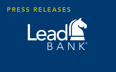 A blue rectangles with the words Press Releases and the Lead Bank logo