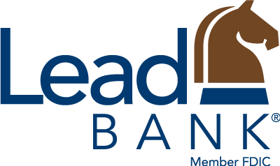 Lead Bank Logo, the words Lead Bank with a knight chess piece.