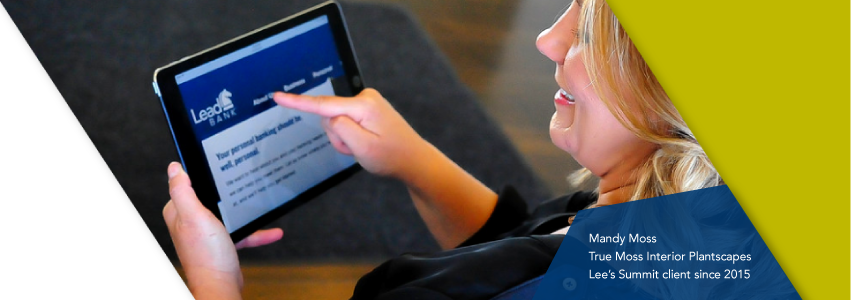 An image of a Lead Bank client using the Lead bank website on a tablet
