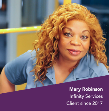 Mary Robinson, owner of Infinity Services, Lead Bank community client since 2017