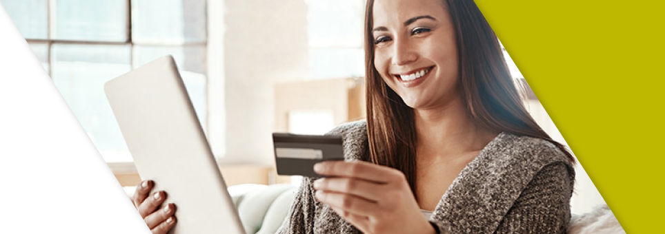 Lead Bank Checking woman holding credit card and ipad