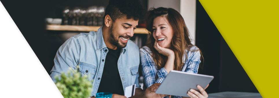 Couple buying online via ipad