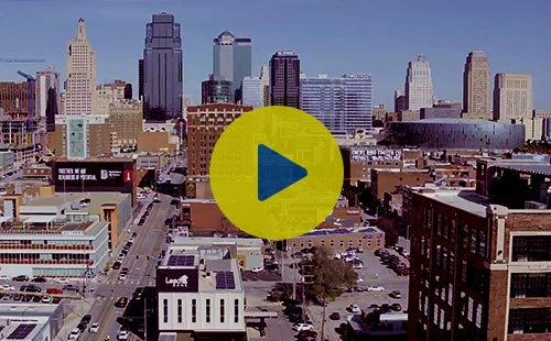 Kansas City skyline with Lead Bank.  Click to watch the Brand Video